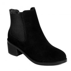 Elastic Band Spliced Chunky Heel Suede Boots -