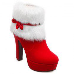 Bowknot Platform Fuzzy Chunky Heel Boots - RED
