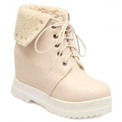 Lace-Up Faux Shearling Hidden Wedge Boots - NUDE 37