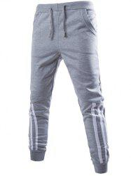 Stripe Spliced Beam Feet Jogger Pants - GRAY
