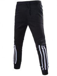 Stripe Spliced Beam Feet Jogger Pants - BLACK 2XL
