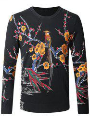 Wintersweet Bird Print Pullover Sweater