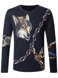 Wolf Chain Print Pullover Sweater -