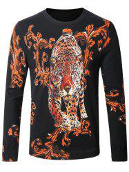Leopard Ancient Flower Print Pullover Sweater