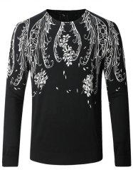 Floral Print Long Sleeve Pullover Sweater