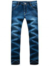 Slim-Fit Applique Pocket Zipper Fly Jeans