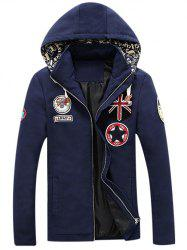 Multi Applique Design Zip-Up Hooded Jacket