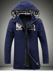 Cartoon Printed Zip-Up Applique Hooded Jacket -