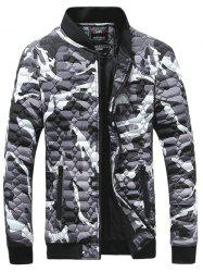 Zip-Up Printed Geometric Pattern Quilted Jacket