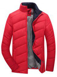 Zip Up Plaid Lining Padded Jacket -