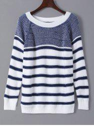 Striped Color Splicing Sweater -