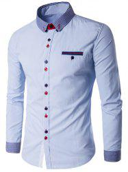 Stripe Splicing Turn-Down Collar Edging Color Block Button Shirt - BLUE 5XL