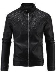 Embroidered PU-Leather Fleece Zip-Up Jacket