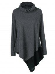 Plus Size Cowl Neck Asymmetrical Pullover -
