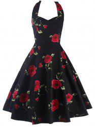 Halter Floral A Line Cocktail Skater Dress