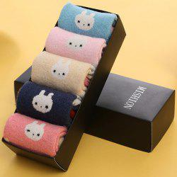 One Set Rabbit Pattern Macarons Candy Color Socks - COLORMIX
