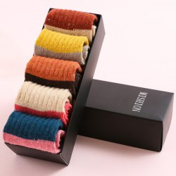 Color Block Flanging One Set Thicken Socks - COLORMIX