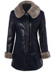 Faux Fur Collar Plus Size PU Leather Coat - BLACK
