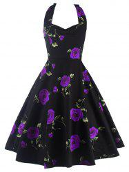 Halter Floral A Line Cocktail Skater Dress - PURPLE
