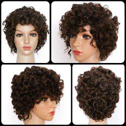 Short Spiffy Curly Synthetic Wig - BROWN