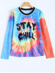 Jewel Neck Stay Chill Tie-Dyed T-Shirt - MULTICOLOR L