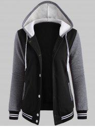 Plus Size Fleece Baseball Jacket with Hood - BLACK
