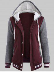 Fleece Baseball Jacket with Hood - WINE RED