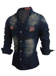 Pockets Front American Flag Jean Shirt -