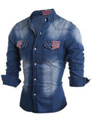 Pockets Front American Flag Denim Long Sleeve Shirt