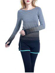 Running Ombre Yoga Long Sleeve Gym Top - BLACK