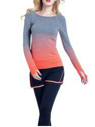 Running Ombre Yoga Long Sleeve Gym Top - ORANGE