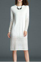 See Through Knee Length Knitted Dress