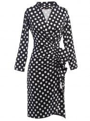 Polka Dot Ruched Surplice Dress