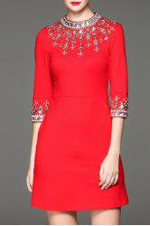 Beaded Fitted Mini Dress -