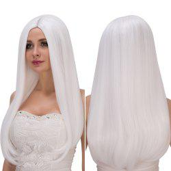 Long Middle Part White Straight Tail Adduction Fashion Cosplay Lolita Synthetic Wig For Women -
