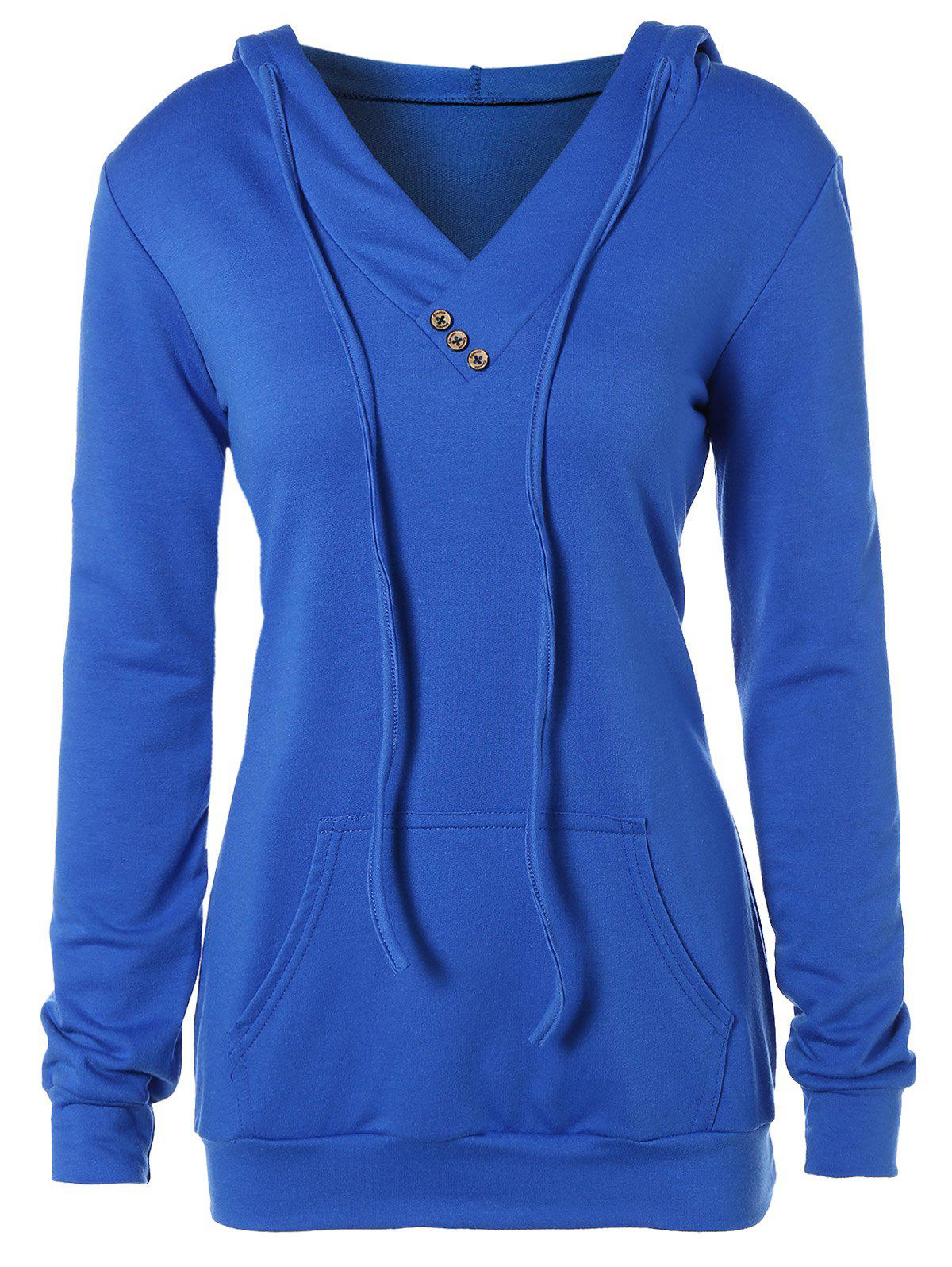 Buttoned Plus Size Drawstring HoodieWOMEN<br><br>Size: 2XL; Color: ROYAL BLUE; Material: Polyester; Shirt Length: Regular; Sleeve Length: Full; Collar: Hooded; Style: Fashion; Season: Fall,Spring; Embellishment: Button; Pattern Type: Solid; Weight: 0.432kg; Package Contents: 1 x Hoodie;