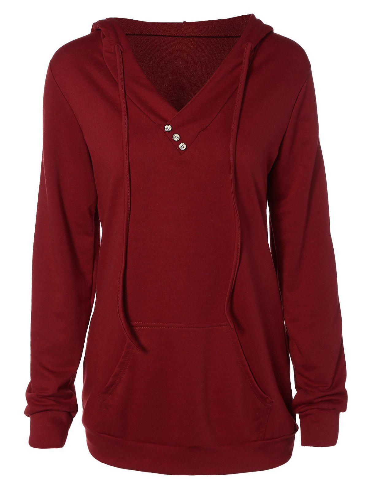 Buttoned Plus Size Drawstring HoodieWOMEN<br><br>Size: 2XL; Color: DEEP RED; Material: Polyester; Shirt Length: Regular; Sleeve Length: Full; Collar: Hooded; Style: Fashion; Season: Fall,Spring; Embellishment: Button; Pattern Type: Solid; Weight: 0.432kg; Package Contents: 1 x Hoodie;