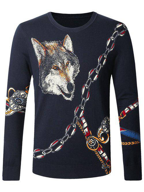 Unique Wolf Chain Print Pullover Sweater