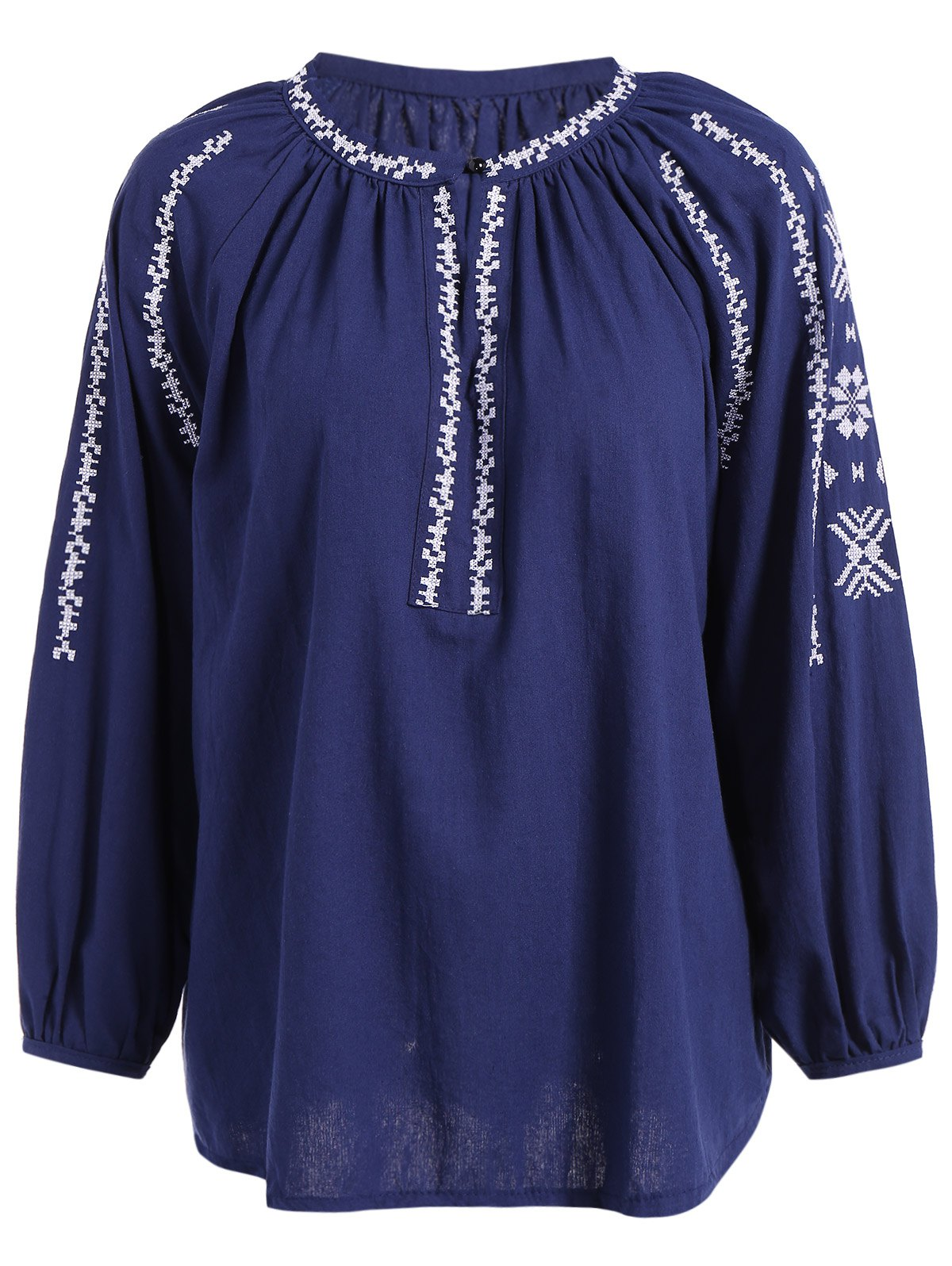 Sale Long Sleeve Embroidered Peasant Blouse