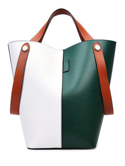 Outfits PU Leather Color Block Tote