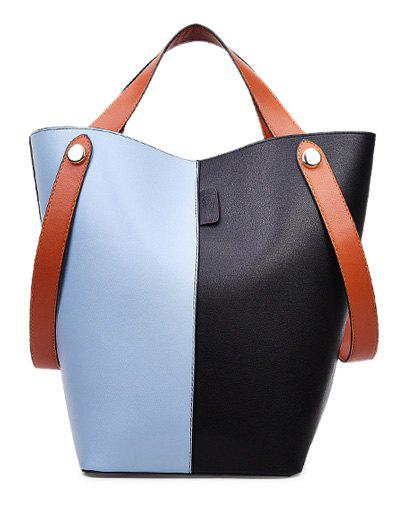 New PU Leather Color Block Tote