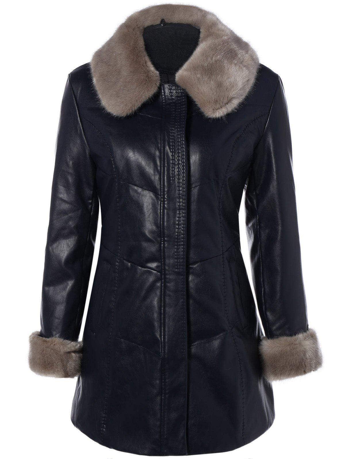 Best Faux Fur Collar Plus Size PU Leather Coat