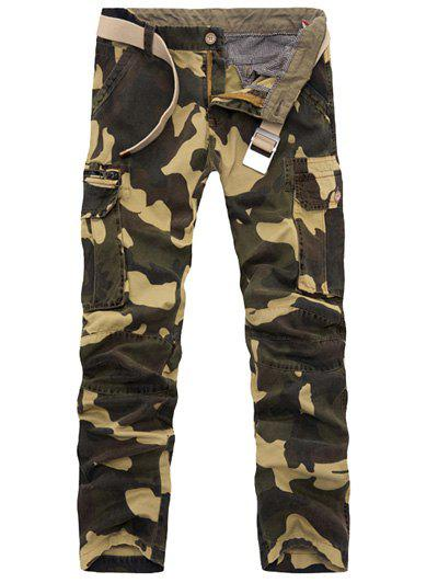 Online Zipper Fly Plus Size Pockets Embellished Camo Cargo Pants