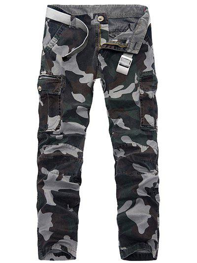 Discount Zipper Fly Plus Size Pockets Embellished Camo Cargo Pants