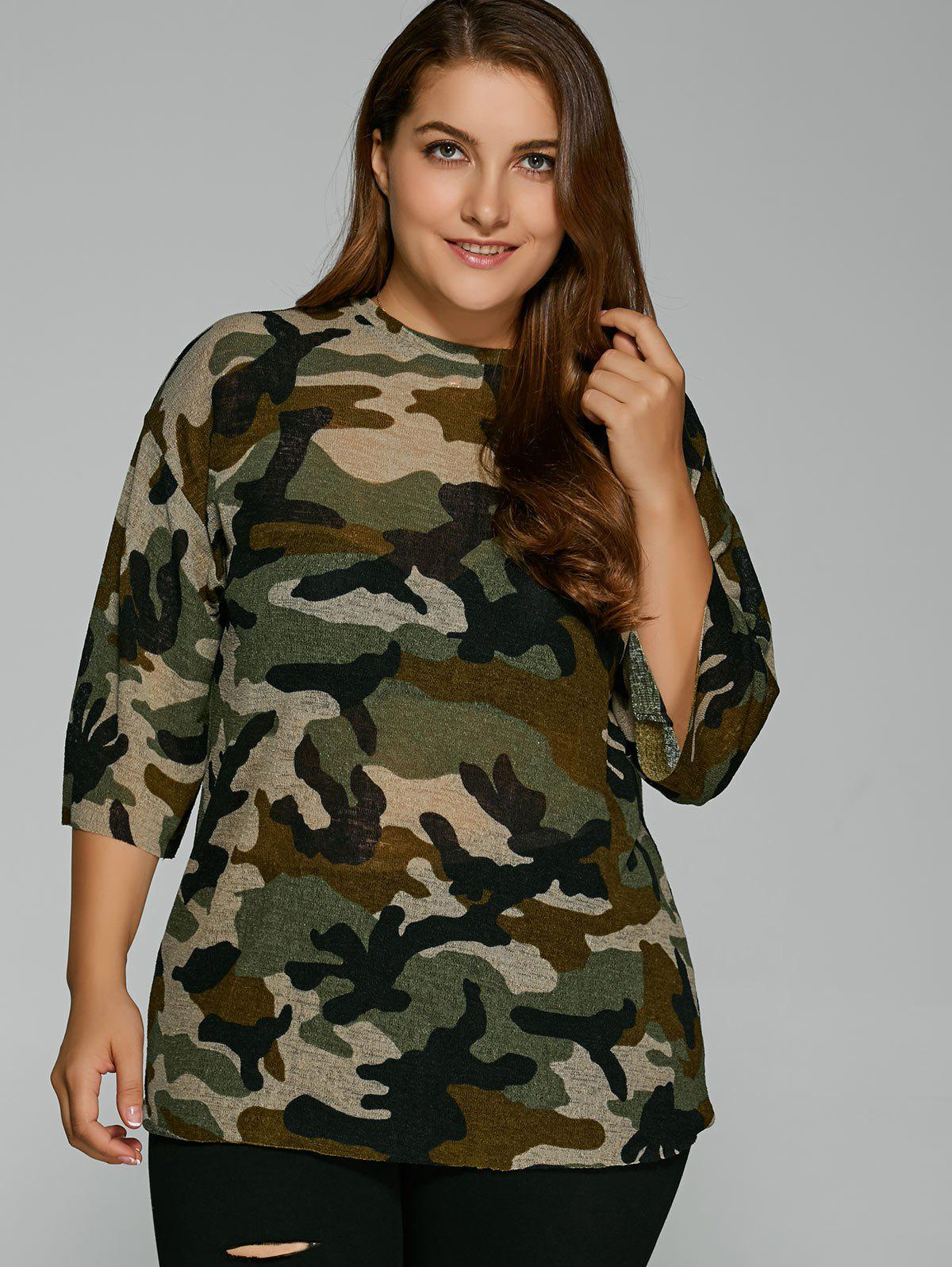 Drop Shoulder Plus Size Camouflage T-Shirt
