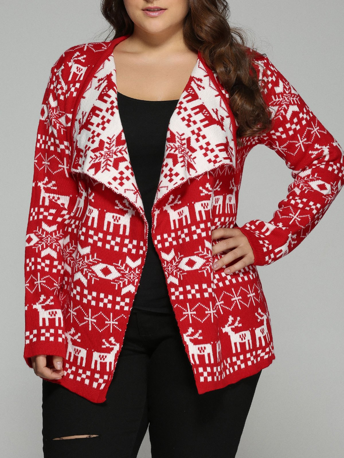 Christmas Jacquard Cute Plus Size CardiganWOMEN<br><br>Size: 3XL; Color: RED; Type: Cardigans; Material: Polyester; Sleeve Length: Full; Collar: Turn-down Collar; Style: Fashion; Season: Fall,Spring; Pattern Type: Character; Weight: 0.475kg; Package Contents: 1 x Cardigan;