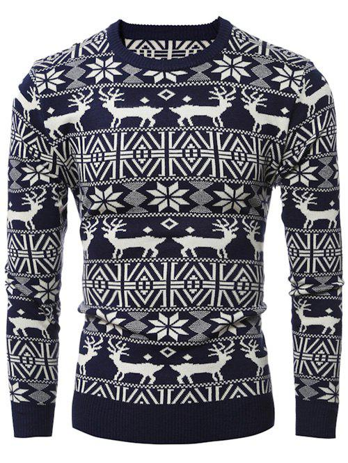 Deer Pattern Crew Neck Snowflake Christmas SweaterMEN<br><br>Size: 2XL; Color: CADETBLUE; Type: Pullovers; Material: Acrylic,Polyester; Sleeve Length: Full; Collar: Crew Neck; Style: Casual; Weight: 0.600kg; Package Contents: 1 x Sweater;