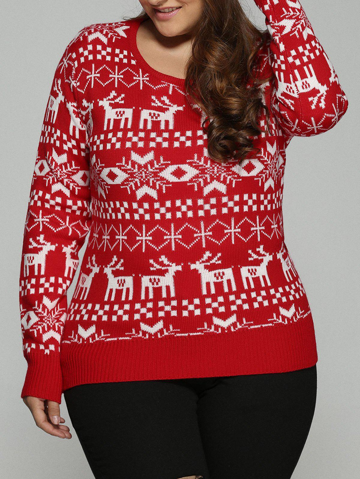 Plus Size Christmas Jacquard Knit SweaterWOMEN<br><br>Size: 2XL; Color: RED; Type: Pullovers; Material: Polyester; Sleeve Length: Full; Collar: Crew Neck; Style: Fashion; Season: Fall,Spring; Pattern Type: Character; Weight: 0.498kg; Package Contents: 1 x Sweater;