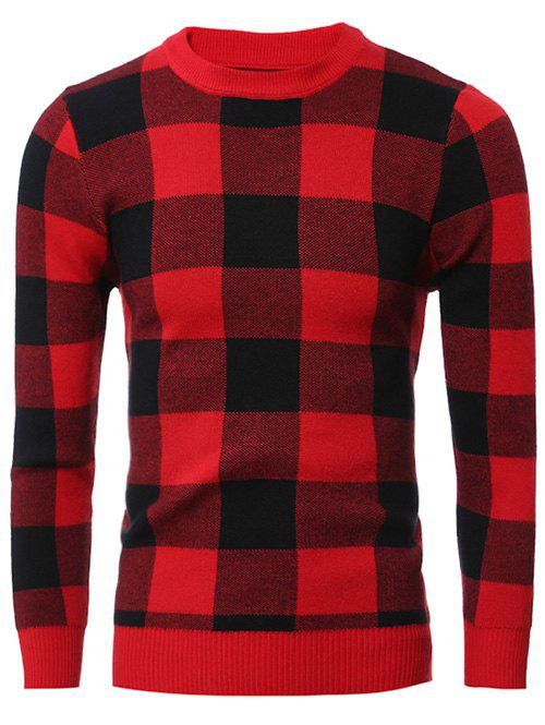 Fancy Slim-Fit Crew Neck Checkered Pullover Sweater