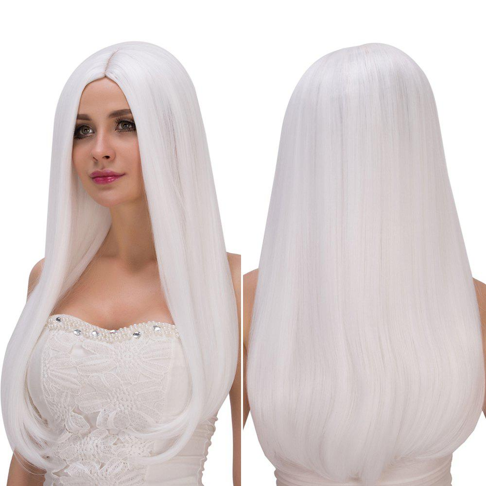 Outfit Long Middle Part White Straight Tail Adduction Fashion Cosplay Lolita Synthetic Wig For Women